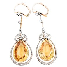 Victorian Citrine & Diamond Dangle Earrings