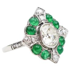 Art Deco Diamond Ring with Emerald Cabochons