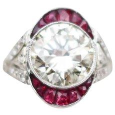 Midcentury Diamond Ring with Ruby Halo