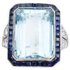 Midcentury Aquamarine Ring with Sapphire Halo