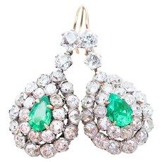 Victorian Emerald & Diamond Teardrop Earrings