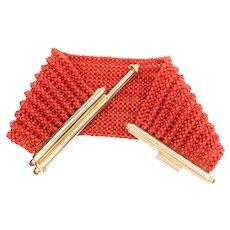 1970s Wide Coral Bracelet