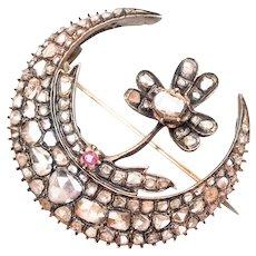 Early-Victorian Rose-Cut Diamond Crescent Pendant/Brooch
