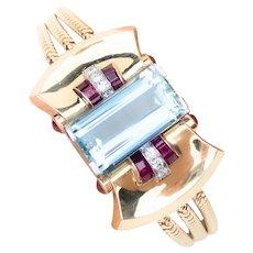 Retro Aquamarine, Diamond and Ruby Bracelet