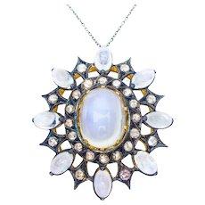 Victorian Moonstone & Rose-Cut Diamond Pendant