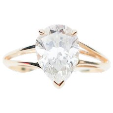 Late-Midcentury Pear-Shaped Diamond Solitaire