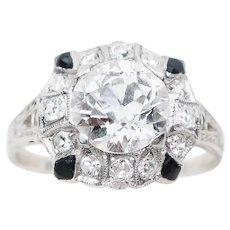 Art Deco Diamond Engagement Halo Ring with Onyx