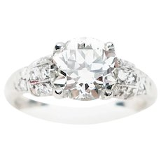 Art Deco Old European-Cut Diamond Engagement Ring