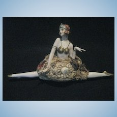 Gorgeous large Flapper half doll Pin cushion with legs in a Split circa 1920