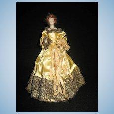 Rare & Elegant Porcelain Half doll - Red hair - Stunning Dress