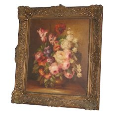 "Large Antique Painting 27"" x 32"" Still Life Painting On Canvas - Carved Frame circa 1880 – Stunning"