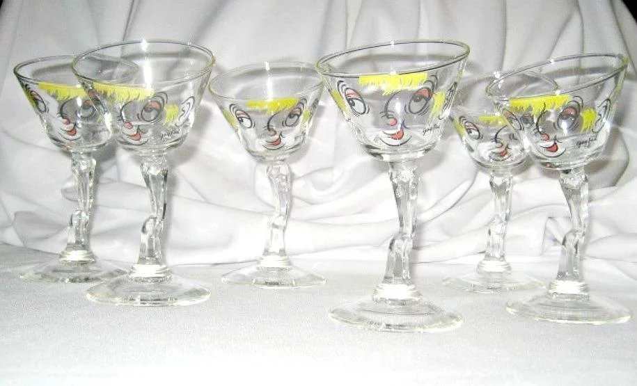 Retro Set Of 6 Gay Fad Tipsy Cocktail Martini Glasses Hand