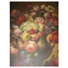 "Large Antique Painting 29"" x 36""  Still Life Painting On Canvas circa 1850 - Stunning"
