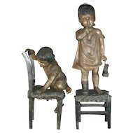 "Pair of Large Signed Juan Clara Bronze Sculpture / Statues – 36"" x 11"" and 25"" x 12"" - Children"