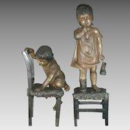 "Pair of Large Signed Juan Clara Bronze Sculpture / Statues – 36"" x 11"" and 25"" x 12"" - Children"