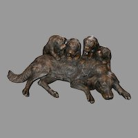 "Striking Large Bronze Sculpture / Statue Dog with 4 Puppies – 33"" Long x 22"" Tall"