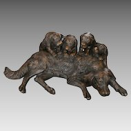 """Striking Large Bronze Sculpture / Statue Dog with 4 Puppies – 33"""" Long x 22"""" Tall"""