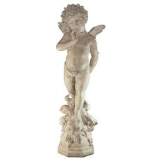 "Amazing Luigi Pagani Sculpture of a Angel / Cherub 42"" Tall – Signed – Extraordinary Detail"