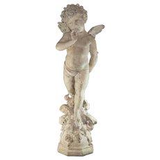 "Amazing Luigi Pagani Sculpture of a Angel / Cherub 42"" Tall – Signed – Extraordinary Detail"