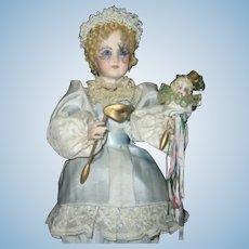Large Elegant Vintage Automaton Music Box - Fabulous Porcelain Pierrot Doll