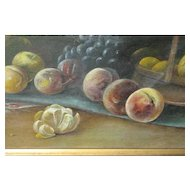"Large Antique Painting 42-1/4"" x 19-1/8"" Still Life Painting On Canvas – Signed WR  & Dated 1917"