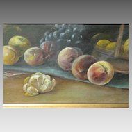"""Large Antique Painting 42-1/4"""" x 19-1/8"""" Still Life Painting On Canvas – Signed WR  & Dated 1917"""