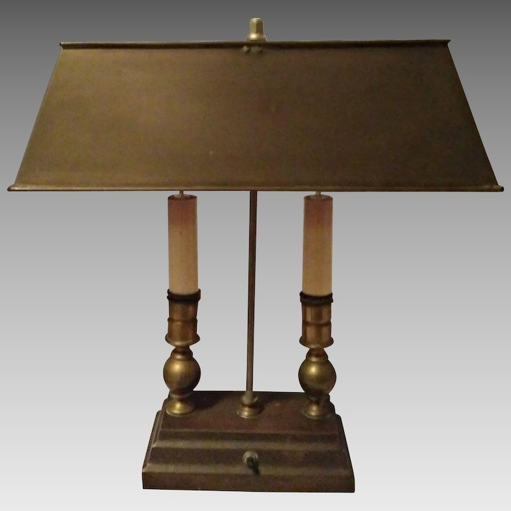 Vintage Two Candle Desk Lamp Brass U0026 Copper Bouillotte Style