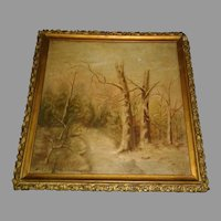 "Small adorable painting early 1900's Landscape with gesso frame 9-1/2"" x 9-1/2"""