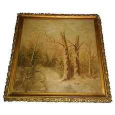 """Small adorable painting early 1900's Landscape with gesso frame 9-1/2"""" x 9-1/2"""""""