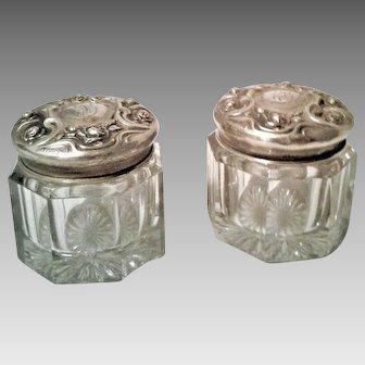 A Wonderful Pair / Set of Antique Victorian Sterling Silver Dresser Jars