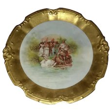 "Limoges 12"" Porcelain plate Depicts Indians & Swans - wide gold band"