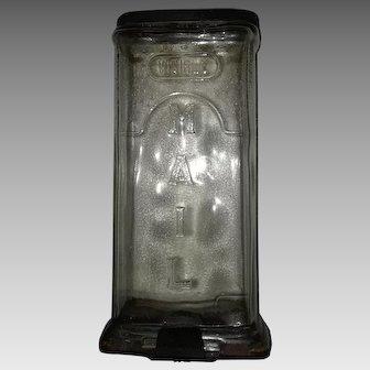Piece of Americana - Original Glass transparent Mail Box 1930's wall mount