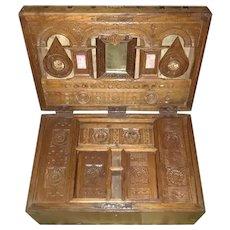 Antique Victorian Burmese Carved Wood Colonial Teak & Brass Mandalay Box -Circa 1860