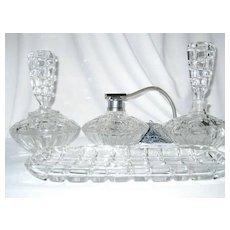 Fabulous Deco Vintage Czech Crystal Clear Glass 4 pc Vanity Dresser Set, Circa 1920