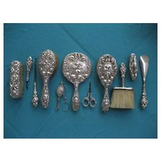 "Fabulous  Art Nouveau Unger Brothers. –""Love Dream""  11 piece Vanity Dresser Set,  Sterling Silver, Hand Mirror - Brushes -Lorgnette Glasses – Assorted Accessories"