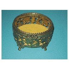 Elegant Vintage Glass top Vanity Jewelry Casket box, Pierced Roses Gold metal