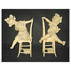 Large Pair of Fabulous Metal Figurines - Statues or Bookends - Girls at Play with cats