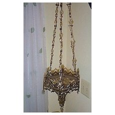 Late 19c. Gothic Style Brass Hanging Sconce