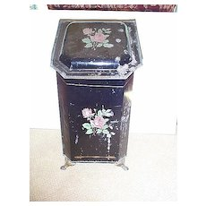 Early 20c. Metal Coal Scuttle with Floral Motif