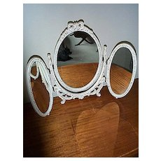 Three Part Oval Vanity Mirror