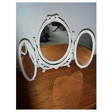 Three Part Oval Vanity Mirror