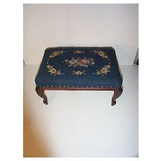 Early 20th century Blue Needlepoint Footrest with Floral Design