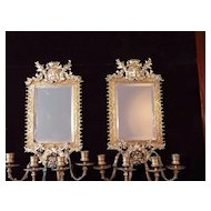Pair of Late 19th c.  Mirrored Brass Sconces