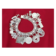 Vintage Silver Charm Bracelet with Hearts