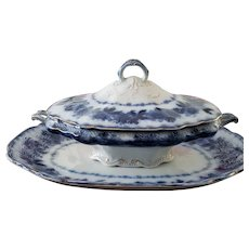 Wood & Son Flow Blue Covered Casserole and Platter