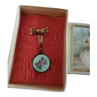 Old Enamel Miniature Doll Hanging Watch Brooch for Doll