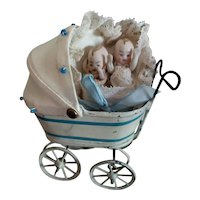 """Tiny 4"""" Blue and White Doll Buggy for Doll Display"""