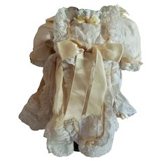"""9"""" Pale Yellow Silk and Lace Dress for Antique Doll"""