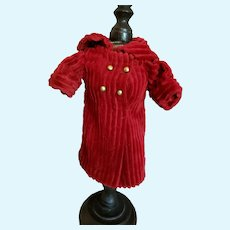 "6"" Red Corduroy Coat Dress for Small Doll"