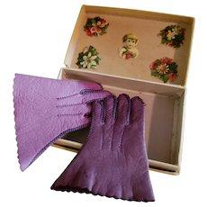 "Pretty Purple Leather 2"" Doll Gloves"
